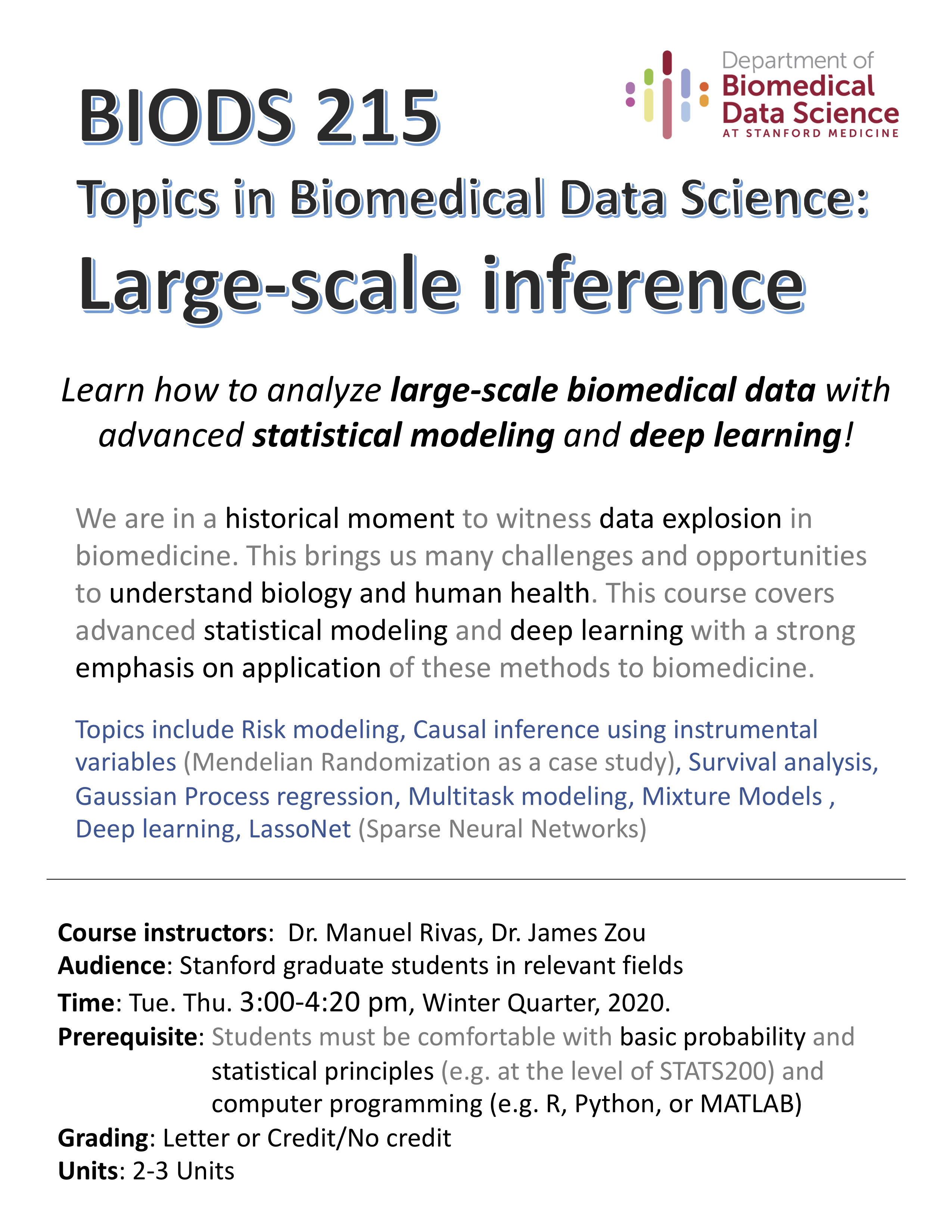 Course flyer for BIODS 215, Winter 2020